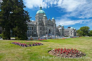 The British Columbia Parliament Buildings are located in Victoria, British Columbia, Canada and serve as the seat of the Legislative Assembly of British Columbia.  The main block of the Parliament Buildings combines Baroque details with Romanesque Revival rustication