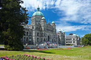 The British Columbia Parliament Buildings are located in Victoria, British Columbia, Canada and serve as the seat of the Legislative Assembly of British Columbia.  The main block of the Parliament Buildings combines Baroque details with Romanesque Revival rustication. Victoria, British Columbia, Canada, natural history stock photograph, photo id 21048