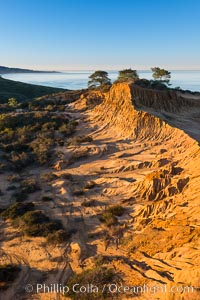 Broken Hill and view to La Jolla, from Torrey Pines State Reserve, sunrise. San Diego, California, USA, natural history stock photograph, photo id 28376