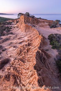 Broken Hill in soft pre-dawn light, overlooking the Pacific Ocean and Torrey Pines State Reserve, San Diego, California