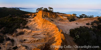 Broken Hill and view to La Jolla, panoramic photograph, from Torrey Pines State Reserve, sunrise. Torrey Pines State Reserve, San Diego, California, USA, natural history stock photograph, photo id 28464