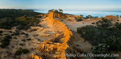 Broken Hill and view to La Jolla, panoramic photographic, from Torrey Pines State Reserve, sunrise. San Diego, California, USA, natural history stock photograph, photo id 28466