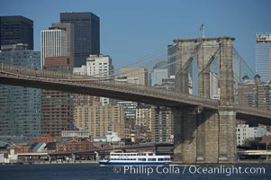 Brooklyn Bridge viewed from Brooklyn.  Lower Manhattan visible behind the Bridge. Brooklyn Bridge, New York City, New York, USA, natural history stock photograph, photo id 11064