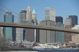 Brooklyn Bridge viewed from Brooklyn.  Lower Manhattan visible behind the Bridge. Brooklyn Bridge, New York City, New York, USA, natural history stock photograph, photo id 11065