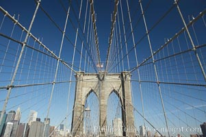 Brooklyn Bridge cables and tower. Brooklyn Bridge, New York City, New York, USA, natural history stock photograph, photo id 11067