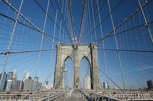 Brooklyn Bridge cables and tower. Brooklyn Bridge, New York City, New York, USA, natural history stock photograph, photo id 11068