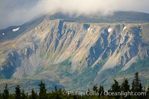 Sunset on mountain ridge near Brooks Lake, Brooks Camp, Katmai National Park, Alaska