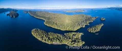 Image 34471, Browning Pass and Balaklava Island, location of the best cold water diving in the world, aerial panoramic photo. British Columbia, Canada