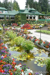 Butchart Gardens, a group of floral display gardens in Brentwood Bay, British Columbia, Canada, near Victoria on Vancouver Island. It is an internationally-known tourist attraction which receives more than a million visitors each year