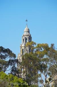 California Bell Tower. Balboa Park, San Diego, California, USA, natural history stock photograph, photo id 12762