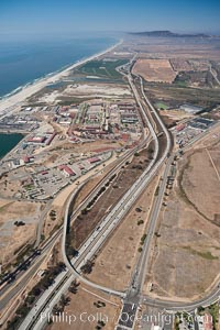 Camp Pendleton, viewed toward the north, including Pacific ocean and Interstate 5 freeway. Marine Corps Base Camp Pendleton
