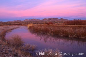 Sunrise along one of the canals lining the many pools and empoundments at Bosque del Apache National Wildlife Refuge, Socorro, New Mexico