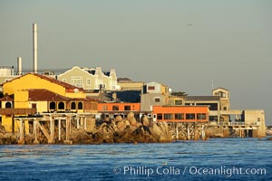 Cannery Row buildings, along the Monterey waterfront, early morning