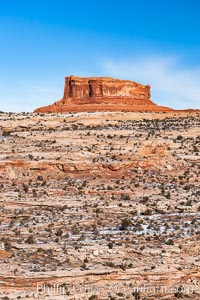 Monitor Butte (right), formed of Entrada sandstone with Carmel and Dewey Bridge formations comprising the basal slope and whiter Navajo sandstone below, Island in the Sky, Canyonlands National Park, Utah
