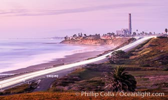 Carlsbad Coast Highway Sunset, North Ponto to Oceanside with Camp Pendleton in the distance
