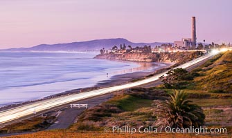 Carlsbad Coast Highway Sunset, North Ponto to Oceanside with Camp Pendleton in the distance. California, USA, natural history stock photograph, photo id 35905