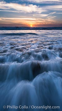 Carlsbad wave at sunset. California, USA, natural history stock photograph, photo id 29113