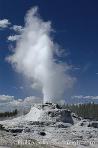 Castle Geyser erupting. Upper Geyser Basin, Yellowstone National Park, Wyoming