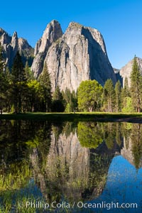 Cathedral Rocks at sunrise, reflected in a spring meadow flooded by the Merced River. Cathedral Rocks, Yosemite National Park, California, USA, natural history stock photograph, photo id 34546
