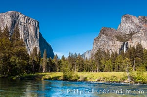 Gates of Yosemite Valley and Merced River.  El Capitan (left), Bridalveil Falls and Cathedral Rocks (right).  Yosemite National Park, Spring, Gates of the Valley