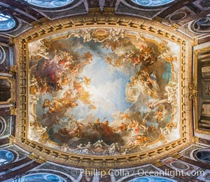 Ceiling art detail. Chateau de Versailles, Paris, France, natural history stock photograph, photo id 28069