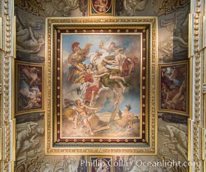 Ceiling detail, Musee du Louvre. Paris, France, natural history stock photograph, photo id 28046