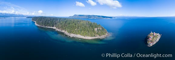 Chrome Island (foreground) and Denman Island, Hornby Island in the distance. British Columbia, Canada, natural history stock photograph, photo id 34494