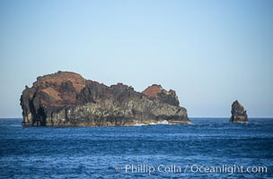 Church Rock (left) and Roca del Skip (Skips Rock, right), near Isla Adentro. Guadalupe Island (Isla Guadalupe), Baja California, Mexico, natural history stock photograph, photo id 09762