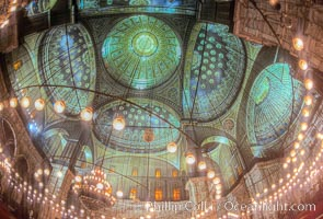 Citadel, interior of dome with hanging lights, Cairo, Egypt