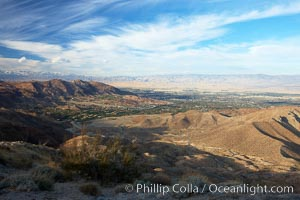 The city of Palm Desert spreads along the floor of the Coachella Valley, seen from a vantage points high above on State Route 74