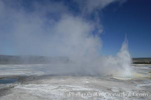 Clepsydra Geyser, a geyser which is almost continually erupting. A member of the Fountain Group of geothermal features. Lower Geyser Basin, Yellowstone National Park, Wyoming, USA, natural history stock photograph, photo id 07227
