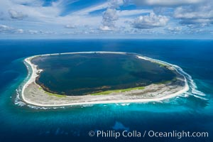 Aerial panorama of Clipperton Island, showing the entire atoll.  Clipperton Island, a minor territory of France also known as Ile de la Passion, is a small (2.3 sq mi) but  spectacular coral atoll in the eastern Pacific. By permit HC / 1485 / CAB (France)