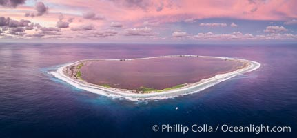 Sunset at Clipperton Island, aerial panoramic photo showing the entire atoll.  Clipperton Island, a minor territory of France also known as Ile de la Passion, is a small (2.3 sq mi) but  spectacular coral atoll in the eastern Pacific. By permit HC / 1485 / CAB (France)