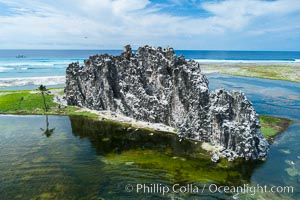 Clipperton Rock, a 95' high volcanic remnant, is the highest point on Clipperton Island, a spectacular coral atoll in the eastern Pacific. By permit HC / 1485 / CAB (France). Clipperton Island, France, natural history stock photograph, photo id 32940
