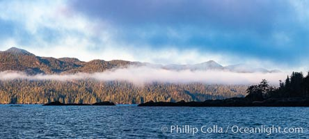 Clouds over Nigei Island at sunrise, Vancouver Island, Canada