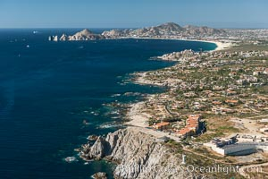 Punta Ballena, Faro Cabesa Ballena (foreground), Medano Beach and Land's End (distance). Residential and resort development along the coast near Cabo San Lucas, Mexico. Baja California, natural history stock photograph, photo id 28931