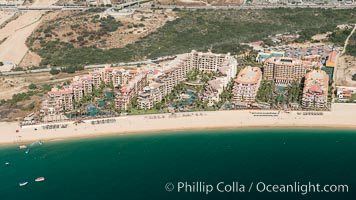 Villa del Arco (left), Villa la Estancia (center), Villa del Palmar (right). Residential and resort development along the coast near Cabo San Lucas, Mexico