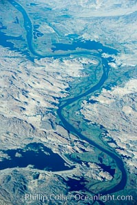 Colorado River, showing Martinez Lake (top right), Senator Wash Reservoir (lower left), Squaw Lake (center bottom). Colorado River, California, USA, natural history stock photograph, photo id 22131