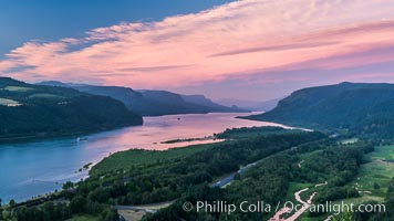 Image 28674, Columbia River viewed from Crown Point, sunset. Crown Point, Columbia River Gorge National Scenic Area, Oregon, USA