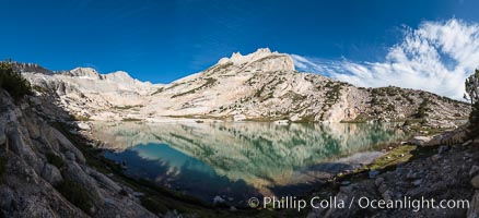North Peak (12242'), Conness Lake and green glacial meltwater, Hoover Wilderness, Conness Lakes Basin