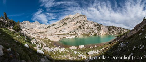 North Peak (12242', center), Mount Conness (left, 12589') and Conness Lake with its green glacial meltwater, Hoover Wilderness, Conness Lakes Basin