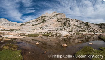 North Peak (12242') and Conness Lake, Hoover Wilderness. Conness Lakes Basin, California, USA, natural history stock photograph, photo id 31062