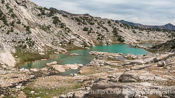 Conness Lake with green glacial meltwaters, Hoover Wilderness, Conness Lakes Basin