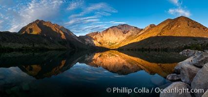 Convict Lake sunrise reflection, Sierra Nevada mountains., natural history stock photograph, photo id 26972