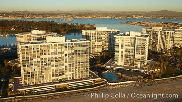 Coronado Shores, a group of 10 condominium buildings south of the Hotel Del, on the water on Coronado Island, San Diego, California