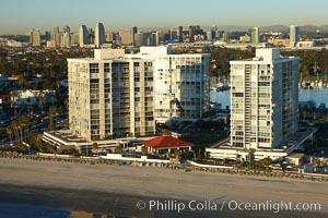 Coronado Shores, a group of 10 condominium buildings south of the Hotel Del, on the water on Coronado Island, San Diego, California