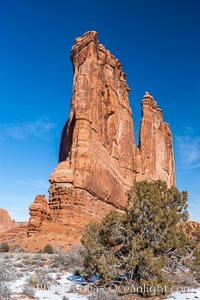 Image 18198, Courthouse Towers, narrow sandstone fins towering above the surrounding flatlands. Courthouse Towers, Arches National Park, Utah, USA, Phillip Colla, all rights reserved worldwide. Keywords: arch, arches national park, arches national park utah, courthouse towers, environment, fin, geologic features, geology, landscape, national parks, nature, outdoors, outside, sandstone, sandstone fins, scene, scenery, scenic, usa, utah.