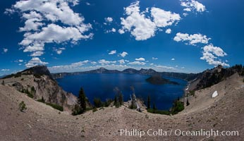 Crater Lake panoramic photograph.  Panorama picture of Crater Lake National Park. Oregon, USA, natural history stock photograph, photo id 28656