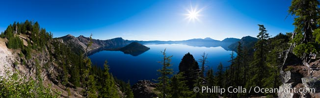 Panoramic photo of Crater Lake National Park. Oregon, USA, natural history stock photograph, photo id 28675