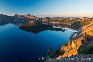 Crater Lake and Wizard Island at sunrise. Crater Lake National Park, Oregon, USA, natural history stock photograph, photo id 28669